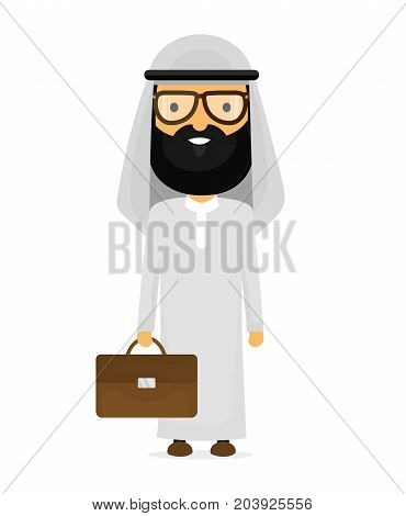 Arabian muslim businessman with briefcase in glasses. Vector flat cartoon character modern style illustration icon drawing, Isolated on white background. Arab business concept