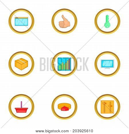 Browser settings icons set. Cartoon set of 9 browser settings vector icons for web isolated on white background