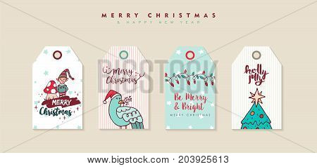 Christmas And New Year Cartoon Holiday Label Set