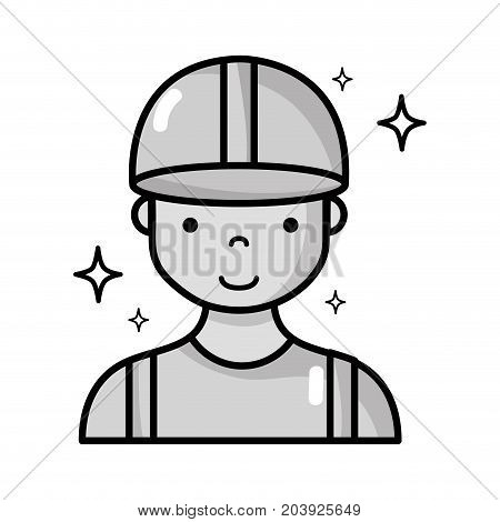 grayscale profesional man worker with cap and clothes vector illustration
