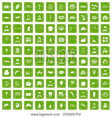 100 favorite work icons set in grunge style green color isolated on white background vector illustration