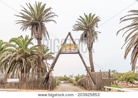 SWAKOPMUND NAMIBIA - JUNE 30 2017: The entrance to the Tiger Reef Camping Site in Swakopmund on the Atlantic Coast in the Namib Desert of Namibia