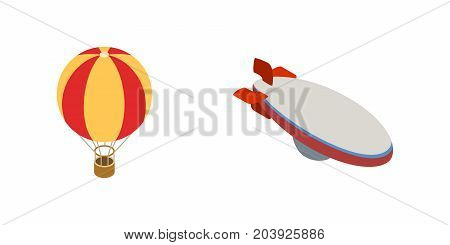 Ballon aerostat transport vector set in isometric 3d style for any design. Aerostat vector icons illustration