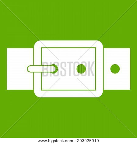 Black buckle belt icon white isolated on green background. Vector illustration