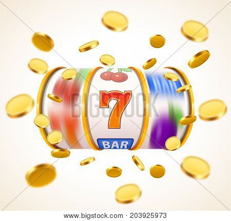Golden slot machine with flying golden coins wins the jackpot. Big win concept. Vector illustration