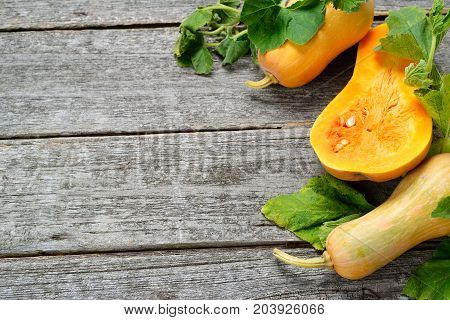 Pampkin and zucchini with green leaves on vintage wooden table. Autumn harvest background. Flay lay of farm fresh vegatables