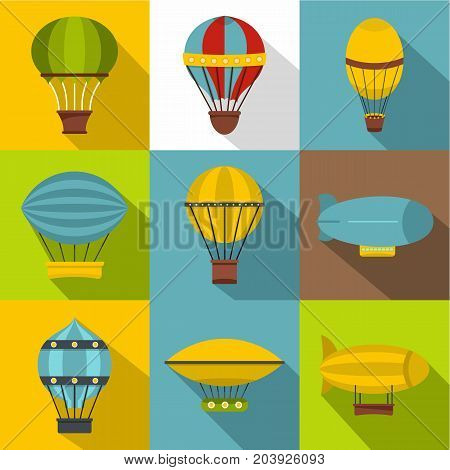 Types of airship icon set. Flat style set of 9 types of airship vector icons for web design