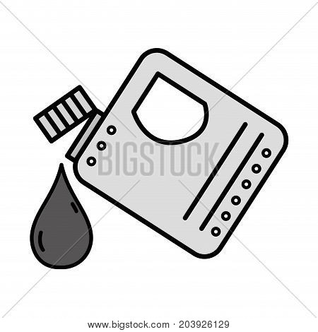 grayscale gasoline bottle with drop to car industrial vector illustration