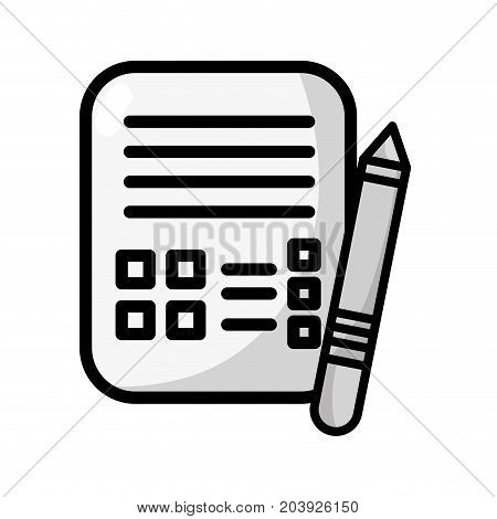 grayscale business document information with pencil tool vector illustration