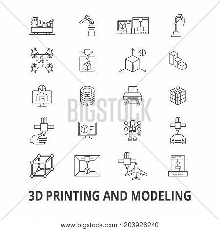 3d printing, model, graphics, prototype, modeling,  manufacturing, production line icons. Editable strokes. Flat design vector illustration symbol concept. Linear signs isolated on background