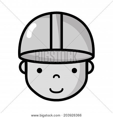 grayscale avatar man head with cap design vector illustration