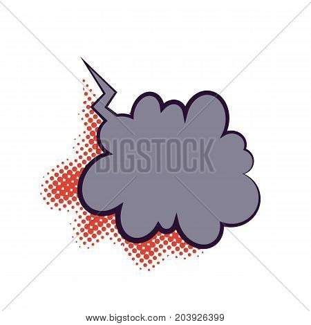 Comics book dialog empty cloud, space cartoon box pop-art. Outline gray picture template memphis style text speech bubble halftone dot background. Creative idea conversation sketch explosion balloon