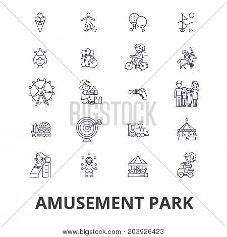 Amusement park, roller coaster, carousel, carnival, entertainment, childhood line icons. Editable strokes. Flat design vector illustration symbol concept. Linear signs isolated on background