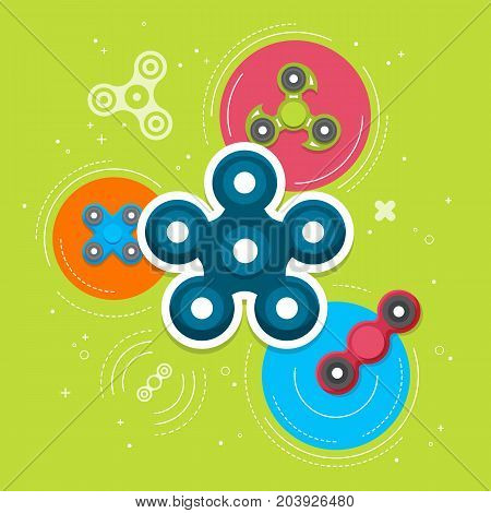 Hand spinners banner and leaflet. Toy for increased focus, stress relief. Fidget relax and meditation. Flat icons. Collection of different colored spinners. Gadget plaything. Vector illustration art.