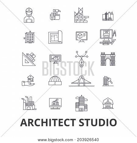 Architect studio, house plan, building, construction, design, architecture line icons. Editable strokes. Flat design vector illustration symbol concept. Linear signs isolated on background