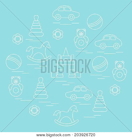 Vector Illustration Kids Elements Arranged In A Circle: Car, Pyramid, Roly-poly, Ball, Cubes, Rockin