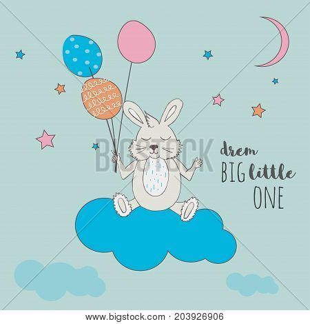 Cute little bunny with balloons sleeping on a cloud. Vector cartoon illustration can be used for baby t-shirt, print design, baby shower, greeting and invitation card.