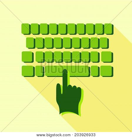 Tapping on the keyboard icon. Flat illustration of tapping on the keyboard vector icon for web design