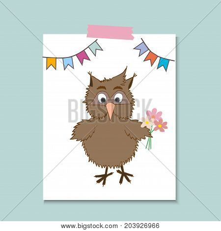 Cute little owl with flower. Vector cartoon illustration can be used for baby t-shirt, print design, baby shower, greeting and invitation card.