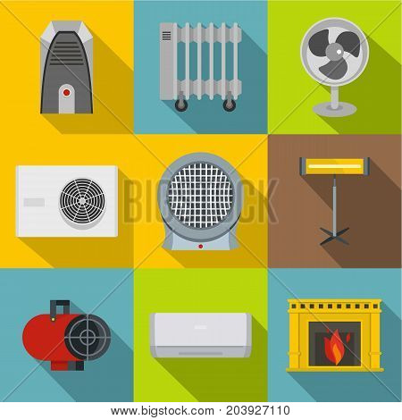House heater icon set. Flat style set of 9 house heater vector icons for web design