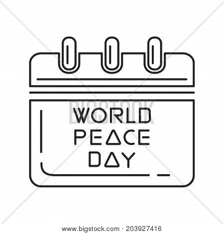 International Day of Peace known as World Peace Day. Wall calendar line icon design. Vector illustration