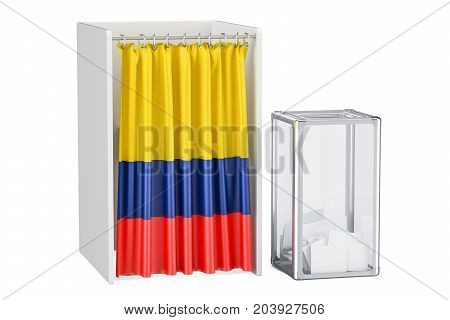 Colombian election concept ballot box and voting booths with flag of Colombia 3D rendering isolated on white background