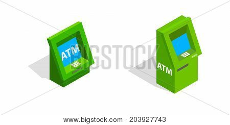 ATM - Automated teller machine set in isometric 3d style isolated on white background. ATM vector icons illustration