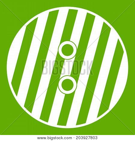 Striped sewing button icon white isolated on green background. Vector illustration