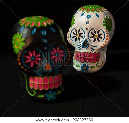A black and white sugar skull for Dias de la muerte or day of the dead a mexican celebration.
