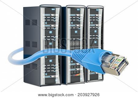 Computer Server Racks with lan internet cable 3D rendering isolated on white background