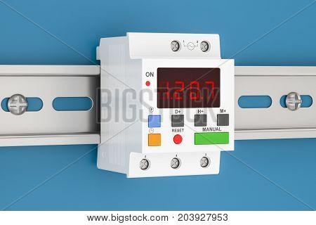 Digital timer switch mount on din rail 3D rendering