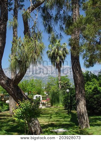 Kemer city park with a view of the mountains. Turkey