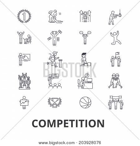 Competition, winnter, award, success, champion, perfomance, competitor, race line icons. Editable strokes. Flat design vector illustration symbol concept. Linear signs isolated on background