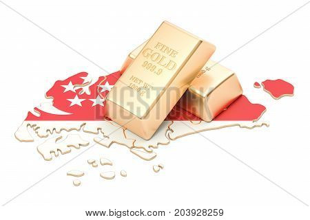 Foreign-exchange reserves of Singapore concept 3D rendering isolated on white background