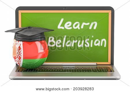 Learn Belorussian concept with laptop blackboard and graduation cap 3D rendering