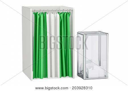 Nigerian election concept ballot box and voting booths with flag of Nigeria 3D rendering isolated on white background