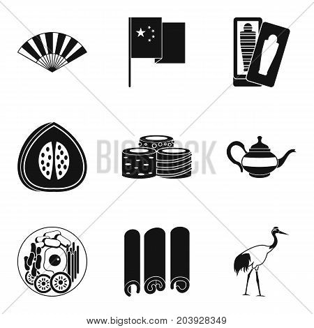 Exotic tour icons set. Simple set of 9 exotic tour vector icons for web isolated on white background