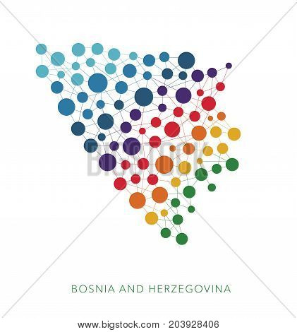 dotted texture Bosnia and Herzegovina vector rainbow colorful background