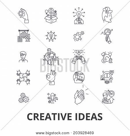 Creative ideas, innovation, solution, creativity, imagination, brainstorm line icons. Editable strokes. Flat design vector illustration symbol concept. Linear signs isolated on background