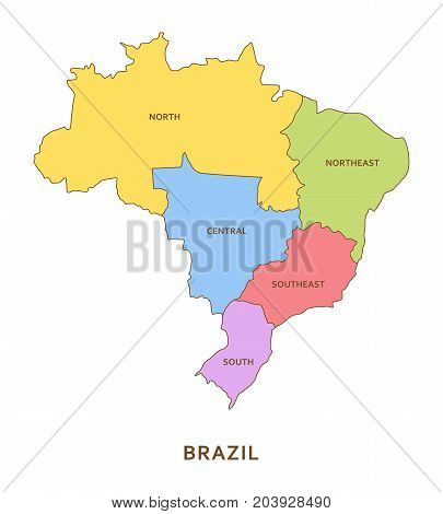 Brazil regions, multicolored vector province geography background