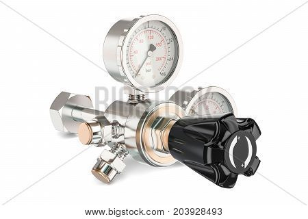 Pressure regulator with reducing valve 3D rendering isolated on white background