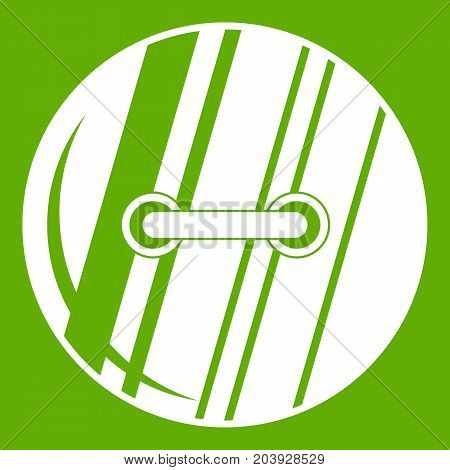 Round sewn button icon white isolated on green background. Vector illustration