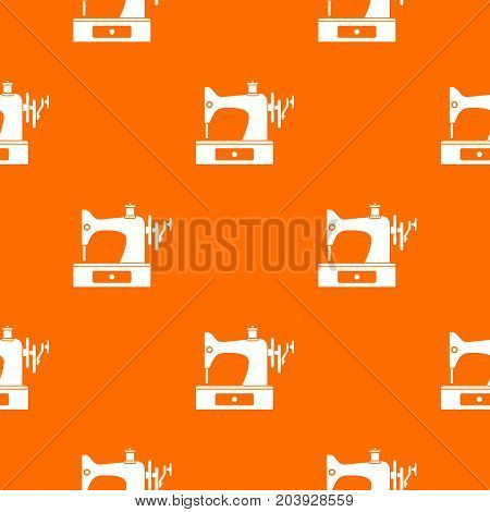 Sewing machine pattern repeat seamless in orange color for any design. Vector geometric illustration
