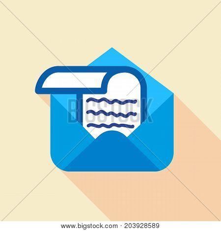Letter in envelope icon. Flat illustration of letter in envelope vector icon for web design