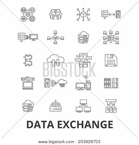 Data exchange, internet, transfer, connection, technology, synchronization line icons. Editable strokes. Flat design vector illustration symbol concept. Linear signs isolated on background