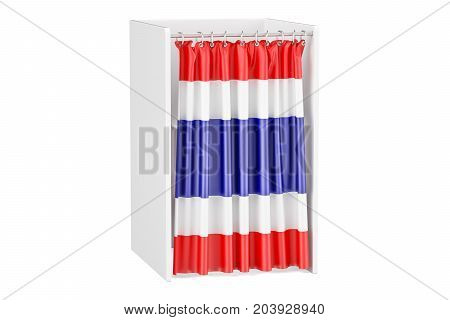 Vote in Thailand concept voting booth with flag 3D rendering isolated on white background