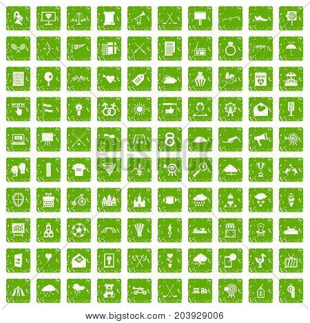 100 arrow icons set in grunge style green color isolated on white background vector illustration