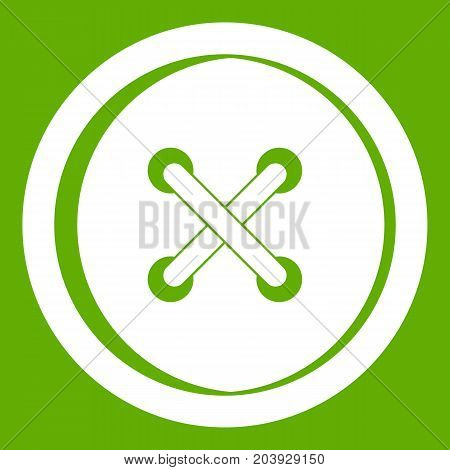 Plastic button icon white isolated on green background. Vector illustration