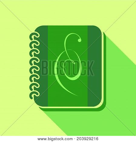 Green notebook icon. Flat illustration of green notebook vector icon for web design