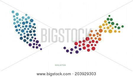dotted texture Malaysia vector rainbow colorful background